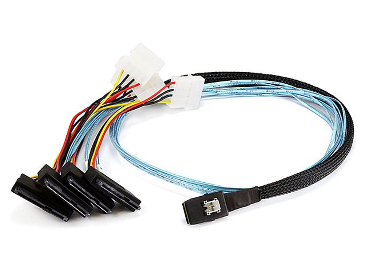 Monoprice 1m 28AWG Internal Mini SAS 36-Pin SFF-8087 Male to SAS 29-Pin Female and 4-Pin Power Cable, Black (108190)