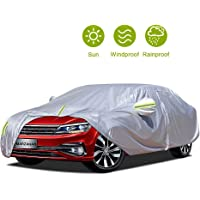 MARZAHAR 4 Layer Universal Sedan Car Cover Waterproof All Weather for Automobiles, Outdoor Rain Hail Snow Wind Proof…