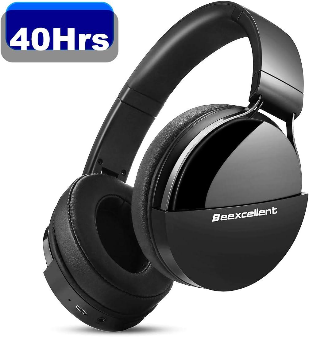 Beexcellent Q7 Auriculares Bluetooth de Diadema, Cascos Bluetooth Inalámbrico, 40hrs de Duración de la Batería, Controlador Doble de 40 mm para Usar en Tableta, Movil, TV Inteligente con Bluetooth