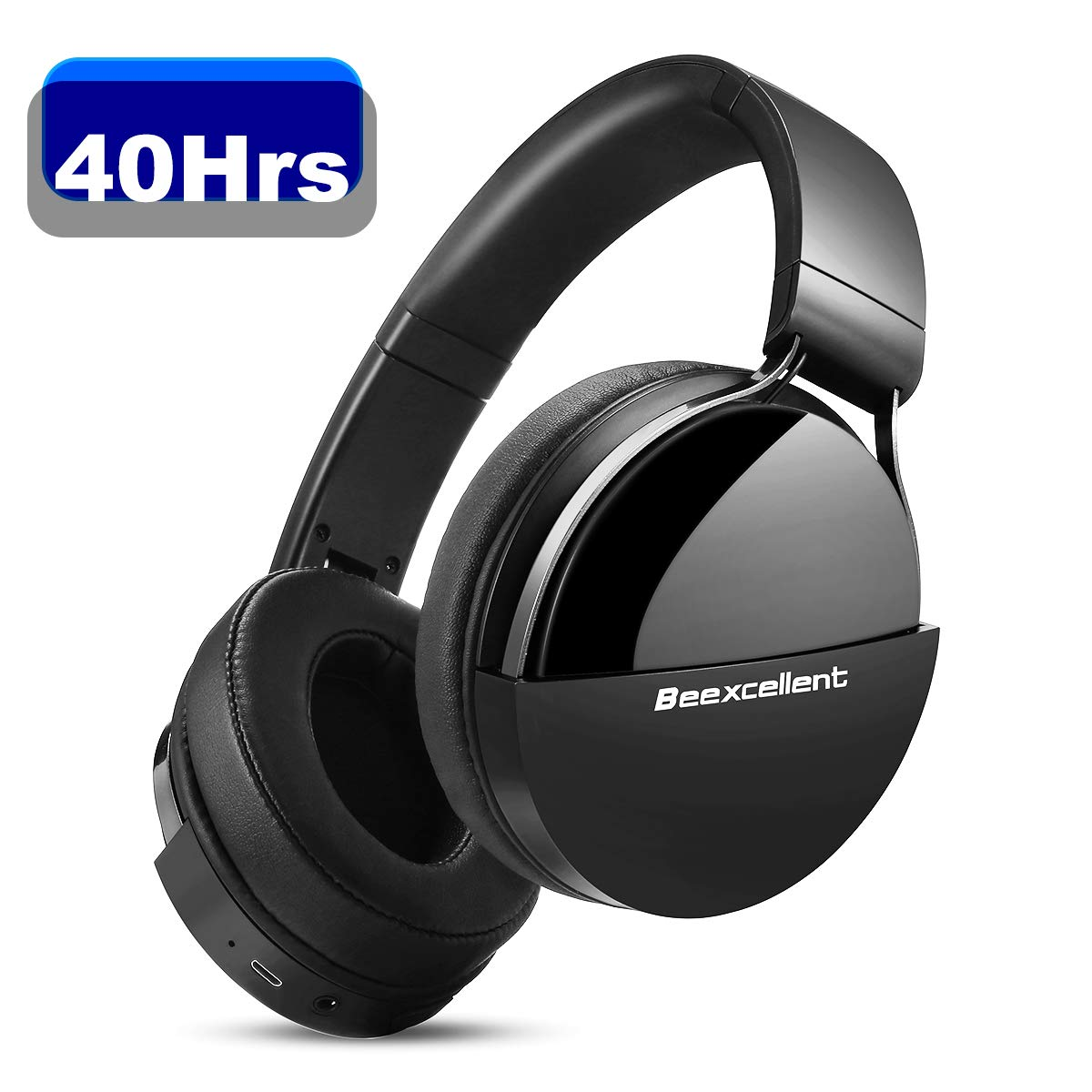 Beexcellent Wireless Bluetooth Headphones, 40 Hours HiFi Stereo Bluetooth 5.0 CVC 6.0 Over Ear Headphones with Build-in Mic, for iPhone Samsung Huawei iPad Cellphone