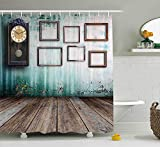 Mirryderr Clock Decor Shower Curtain, A Vintage Clock and Empty Picture Frames in an Old Room Wooden Backdrop, Fabric Bathroom Decor Set with Hooks, Green and Brown