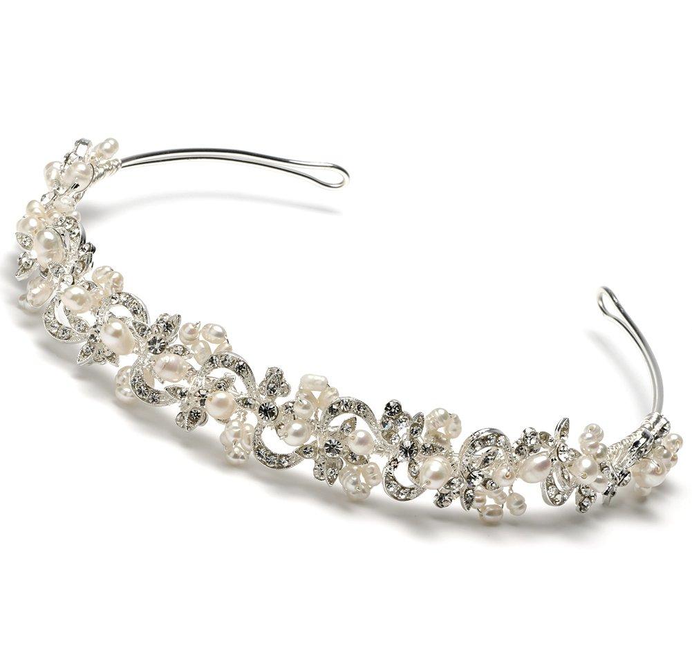 USABride Bridal Headband Tiara with Freshwater Pearl & Rhinestone Swirl Design 3083 by USABride
