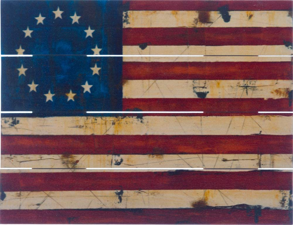 Rustic Pallet Art - Betsy Ross Colonial American Flag (9 x 12) - Hand Made by Amish