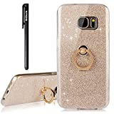 BtDuck Samsung Galaxy S7 Case Glitter Soft TPU Silicone Case Finger Grip Ring Stand Holder Phone Protector Shiny Bling Case Clear View Crystal Cover Cute Gold for Girls Luxury