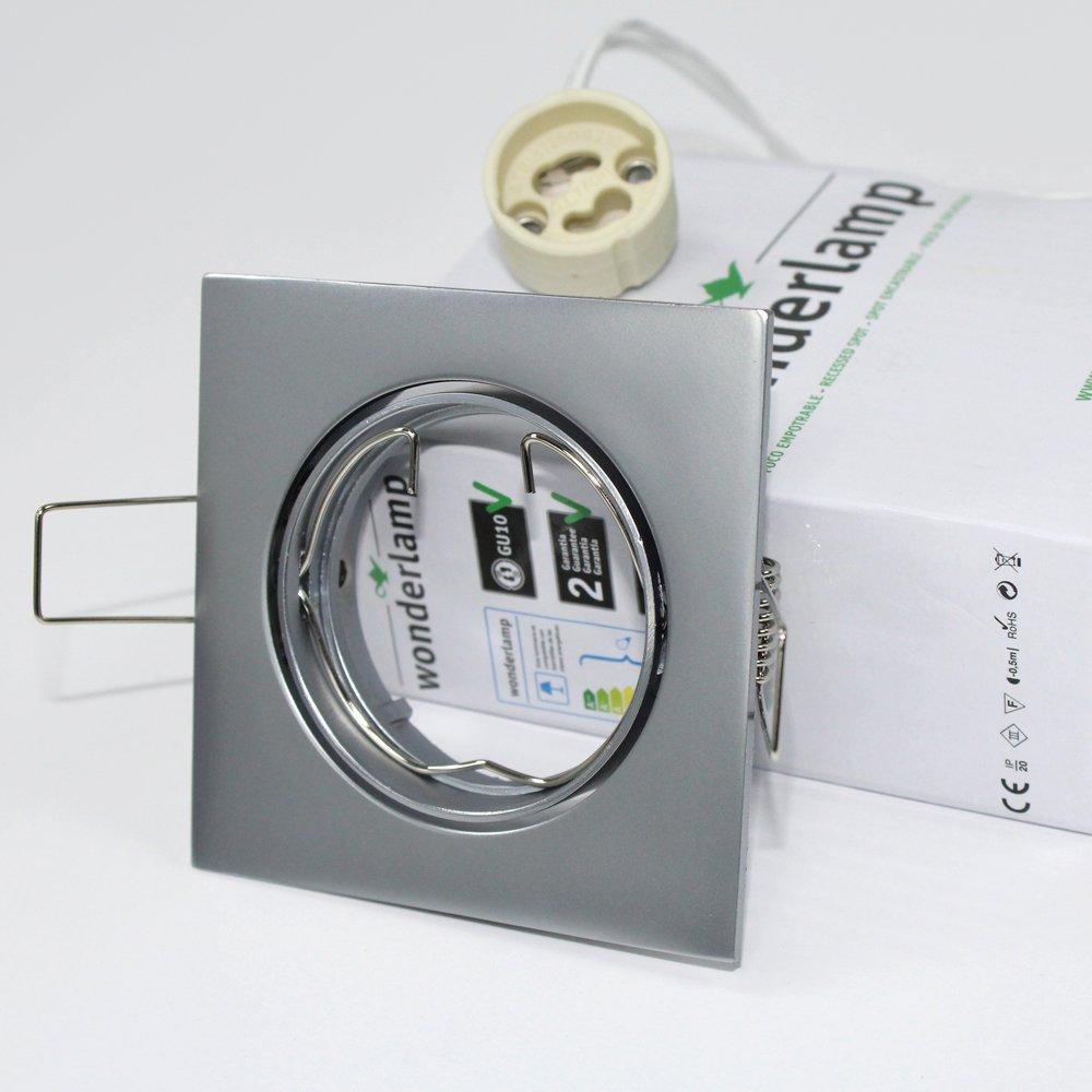 Wonderlamp W-E000012 Basic - Foco empotrable para el techo cuadrado, color acero, 9 x 8 x 3 cm. Incluye portalámparas GU10. Ojo de buey orientable ...