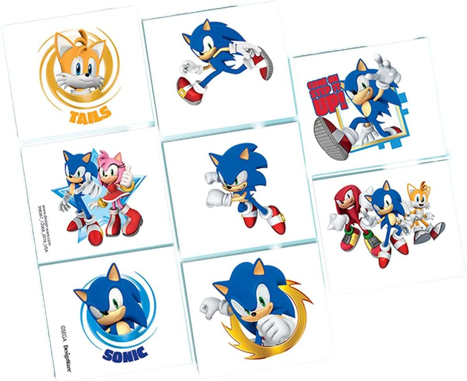 Amazon Com Amscan Sonic The Hedgehog Tattoo Favors Toys Games