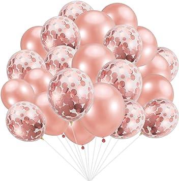 Amazon.com: Globos de oro rosa de 30 piezas con confeti de ...