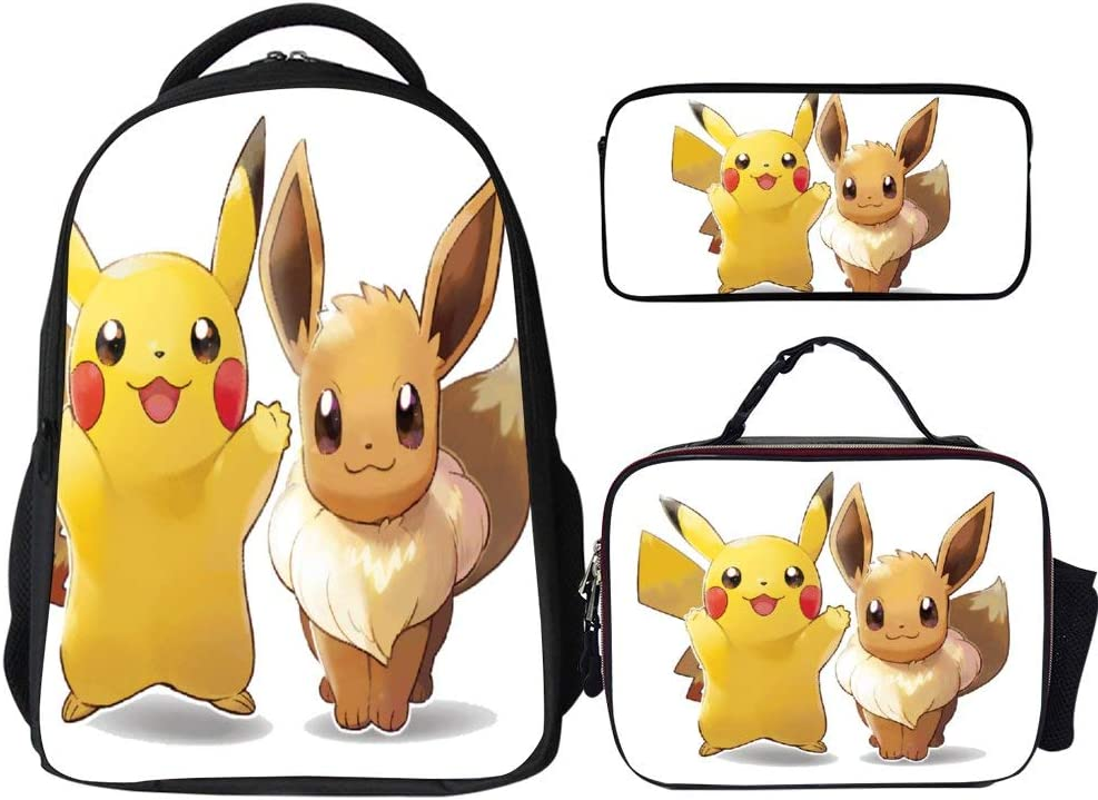 "Poke-mon Backpacks 3Pcs Set,Pikachu Eevee,16"" Backpack with Lunch Bag and Pencil Case Kids 3 in 1 Bookbags Set Cute School Bag for Teen Girls Boys Water Resistant"