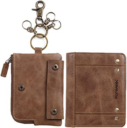 Mens Genuine Leather RFID Blocking Bifold Wallets with Coin Pouch and Keychains