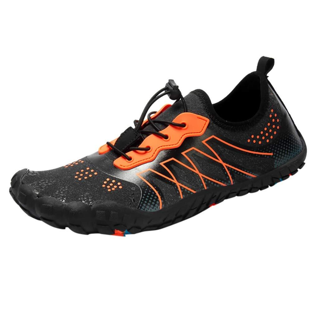 NUWFOR Unisex Quick-Dry Water Shoes Pool Beach Swim Drawstring Shoes Creek Diving Shoes(Orange, 6-6.5 M US Length:9.1'')