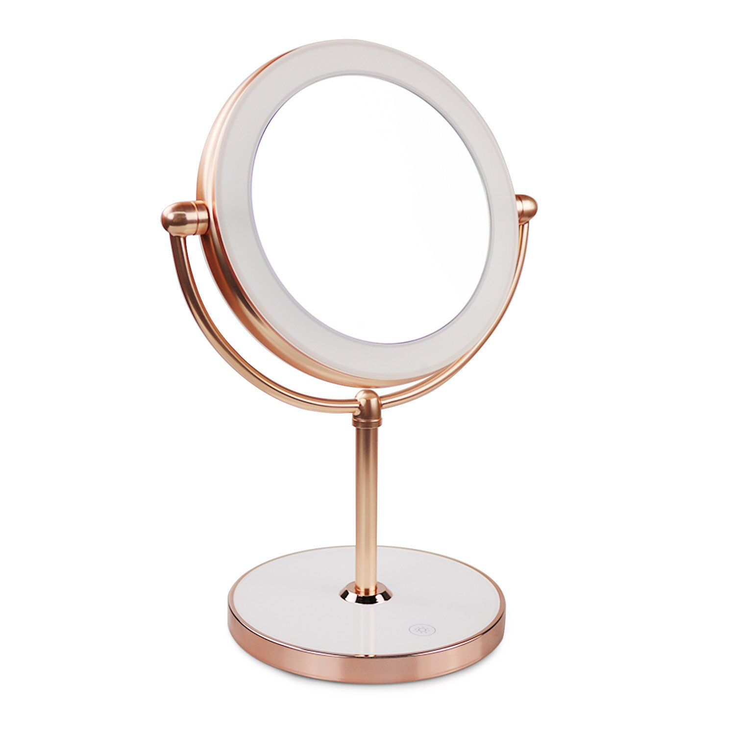 Vanity Mirror with LED lights,Natural Lighted Cosmetic Mirror with 7X Magnification,360 Degree Swivel,Rose Gold by THE D&B CRAFTS LLC (Image #1)
