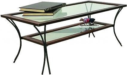 Spazio Casa Tavolino Da Salotto In Legno Con Piedi In Ferro Battuto Ripiani In Vetro Noce 90 X 50 H 50 Amazon It Casa E Cucina