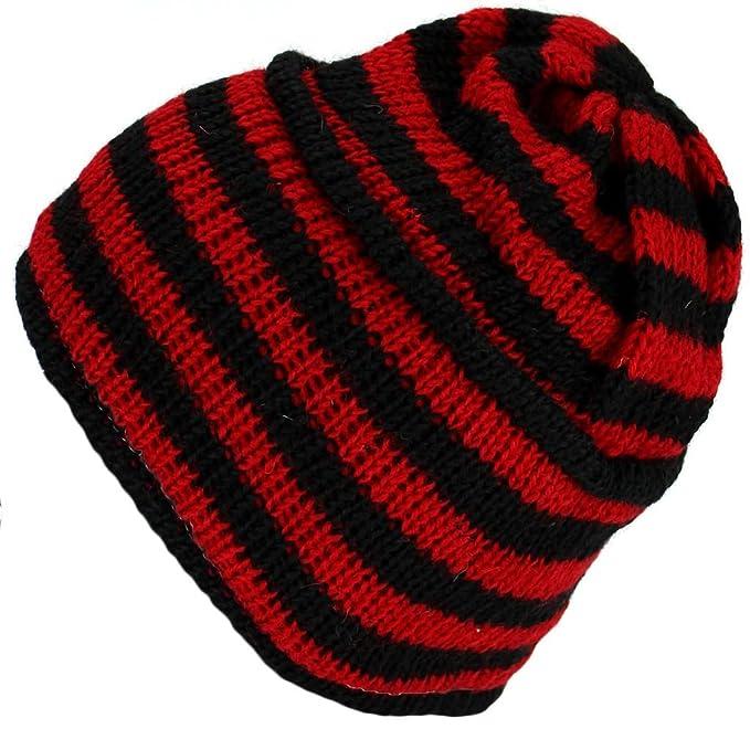 465a64c9f Loud Hats RED & BLACK STRIPE HIPPIE BEANIE HAT NEPAL WOOL KNIT & FLEECE  LINED