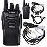 UHF 400-470MHZ ZT V68 Handheld Zastone ZT-V68 Walkie Talkie 2 Pack + 2 PCS Zastone 2-Pin Covert Air Acoustic Earpiece Headset + USB Programming Cable