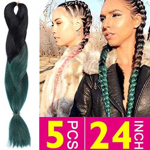 Silike Ombre Jumbo Braid Crochet Hair (5 Pieces) 3 Tone 24 Afro Braids Crochet Braiding Hair Extensions