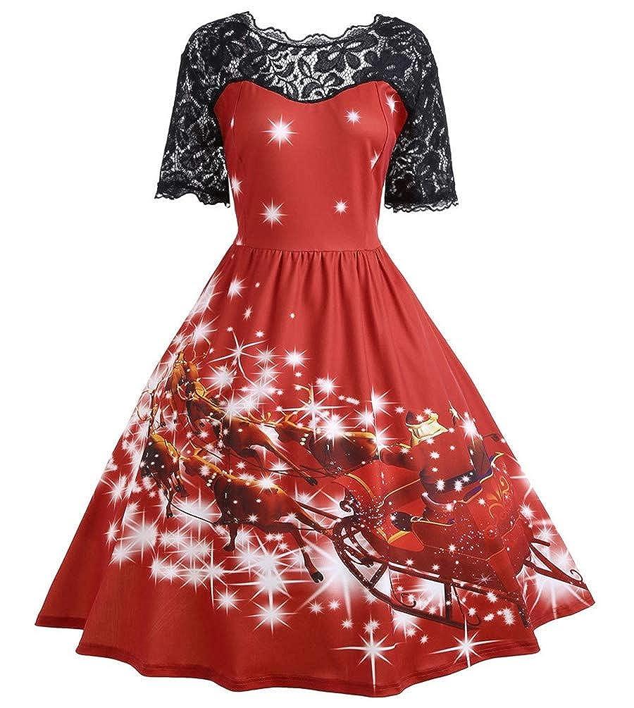 Nicetage Women's Vintage Christmas Santa Print Short Sleeve Lace Retro A-Line Party Swing Dress C-HS107