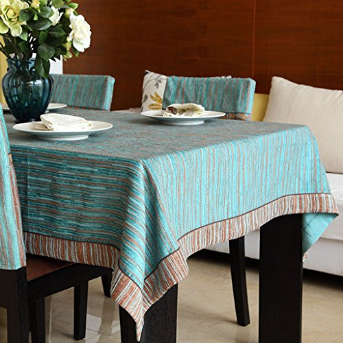 LOVELY Classic Retro Chenille Ribbon Striped Wallpaper Tablecloth Comfortable Dustproof Rectangular Table Cloth (Size : 140200cm)