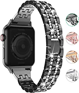 Compatible with Apple Watch Band 38mm 40mm 42mm 44mm for Women, CTYBB Rhinestone Metal Jewelry Wristband Strap Replacement for iWatch Bracelet SE Series 6/5/4/3/2/1