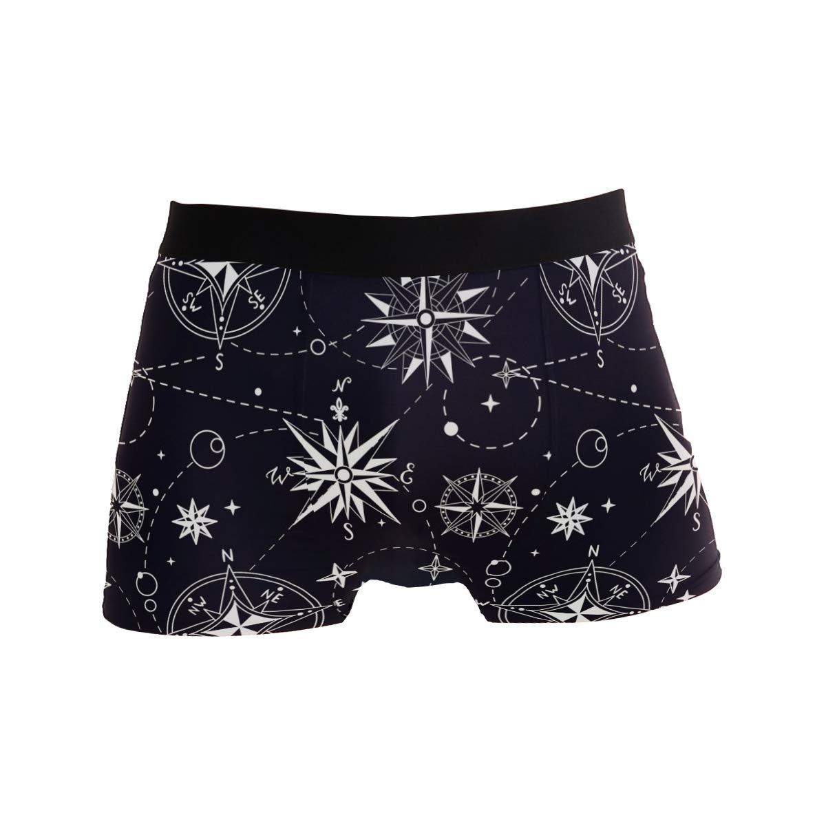 Compass Stars Mens Underwear Soft Polyester Boxer Brief for Men Adult Teen Children Kids S
