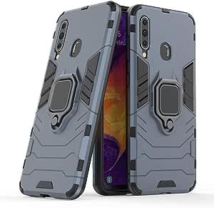 حافظة هاتف سامسونج جالاكسي M30 أيرن مان صلبة من البولي كربونات وبطانة مطاطية ناعمة مع مسند وعرة - أزرق داكن