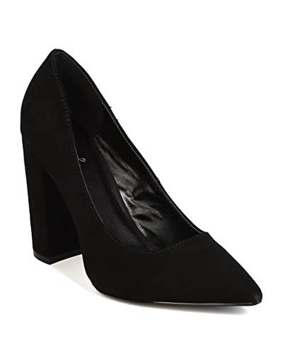 75c31360ed Qupid Women Faux Suede Pointy Toe Chunky Heel Pump GJ23 - Black (Size: 8.5