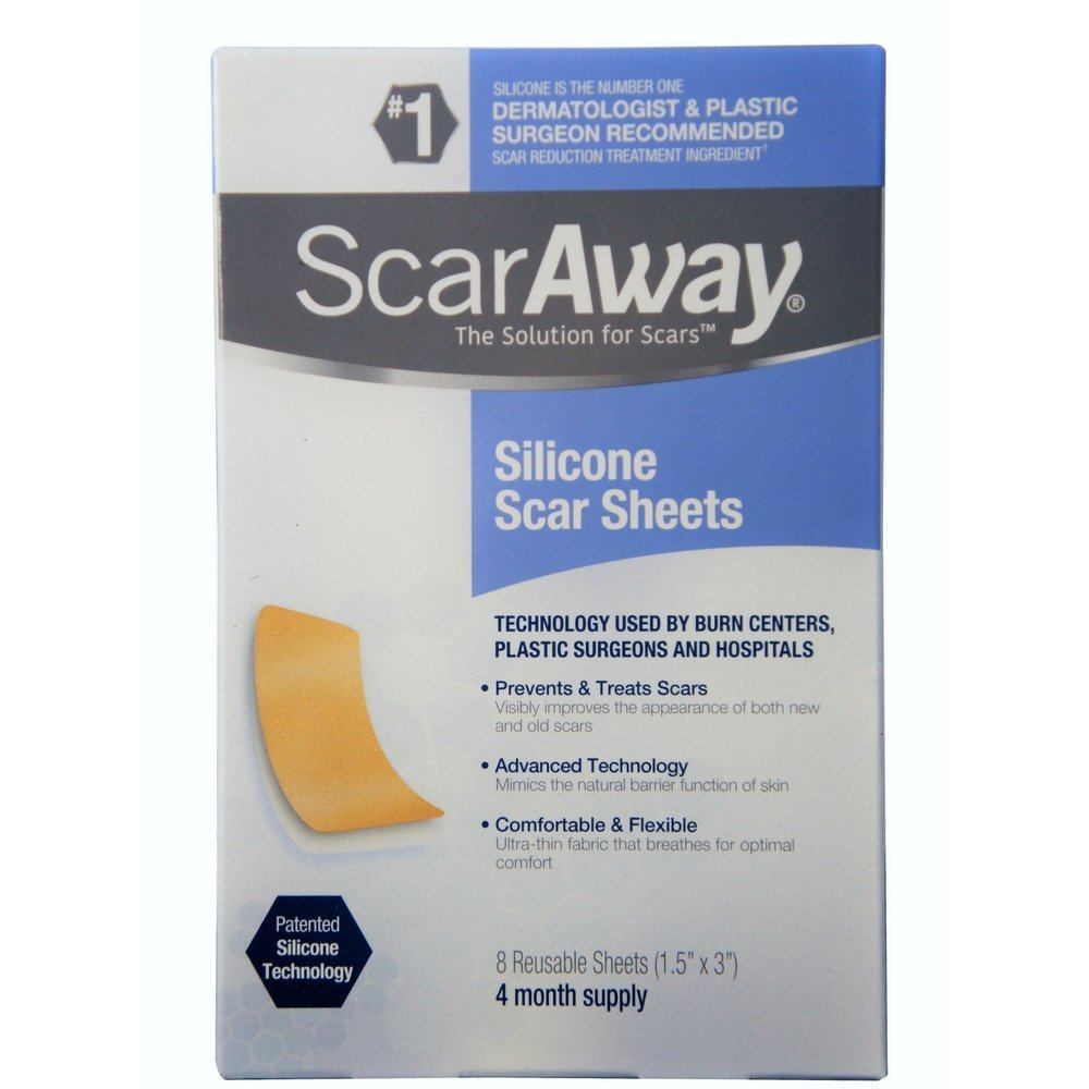 ScarAway Silicone Scar Sheets (1.5'' x 3'') 8 ct