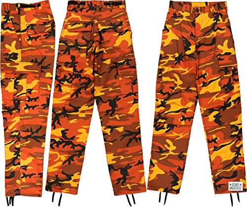 Army Universe Orange Camouflage Poly Cotton Cargo BDU Pants Camo Military  Fatigues with Pin (Large 18d2b09c571
