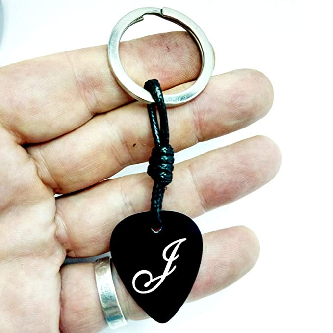 Llavero Púa Guitarra Aluminio Anodizado Negro (GRABADO texto ...