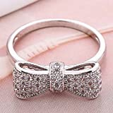 Women Fashion 925 Silver White Sapphire Bow Ring Wedding Engagement Jewelry (6)