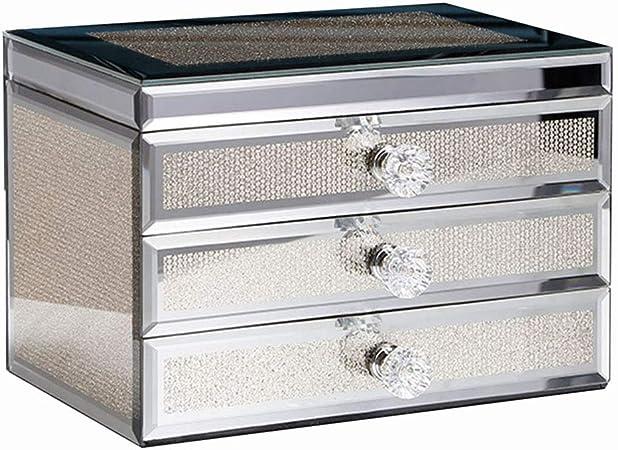 Caja for organizador de joyas de cristal con 3 cajones y bandeja de pulsera con espejo grande for mujeres niñas anillo pendiente del sostenedor del collar del viaje del caso: Amazon.es: Hogar