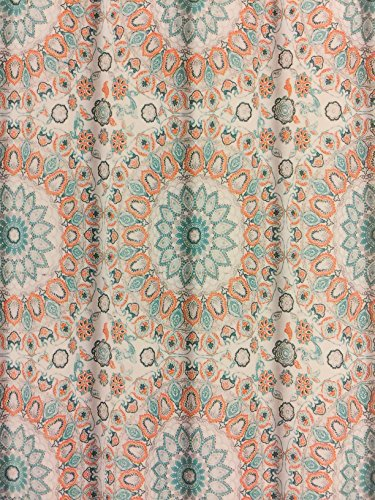 Cynthia Rowley Teal Turquoise and Tangerine Tapestry Medallion Shower Curtain (Coral And Turquoise Curtains)