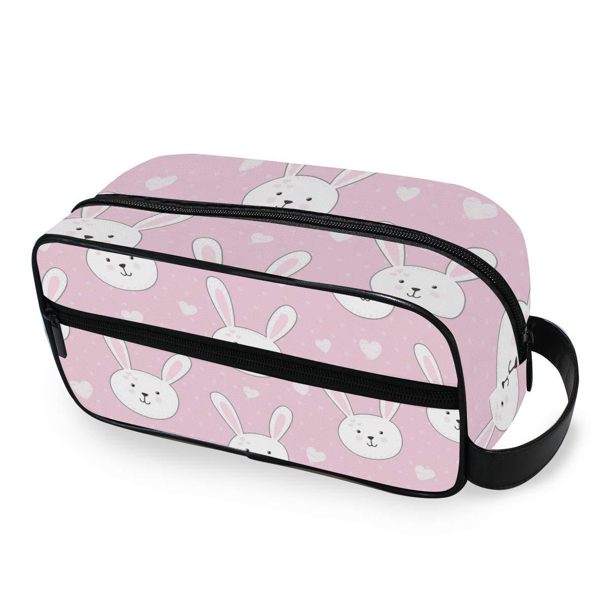 Travel Toiletry Bag for Women or Men - Cartoon Animal Rabbit Printing Handing Cosmetic Make Up Bag Organizer Pouch for Bathroom Shower