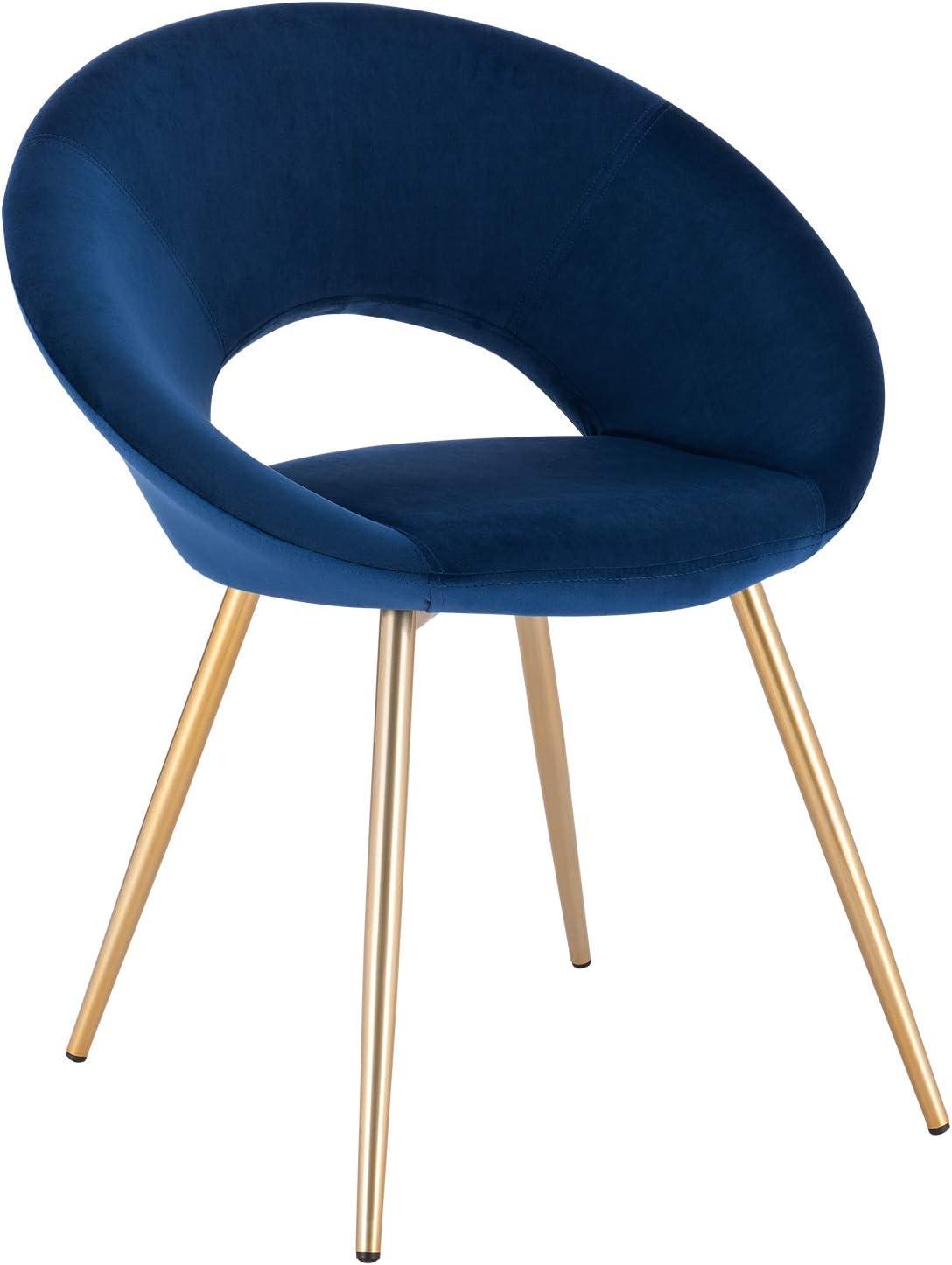WOLTU® Esszimmerstuhl BH230bl 1 1 Stück Küchenstuhl Polsterstuhl Wohnzimmerstuhl Sessel, Sitzfläche aus Samt, Gold Metallbeine, Blau