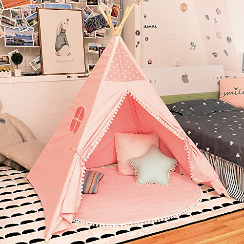 - JoyNote Kids Teepee Tent Indoor Outdoor Children Indian Play Tent 4 Wooden Poles Canvas Tipi with Cotton Mat, Carry Bag, Decorations Star Stickers & Flag (Pink)
