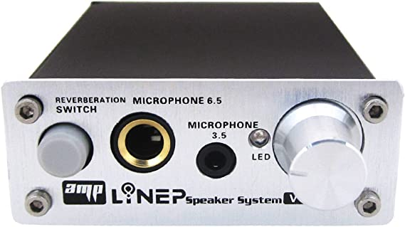 Echo Mic Preamp 2-Channel Audio Mixer 3.5mm/6.5mm Dual Microphone Echo Amplifier Computer Micphone Preamplifier Made of Aluminum Alloy and Treated With Surface Oxidation - Plug and Play