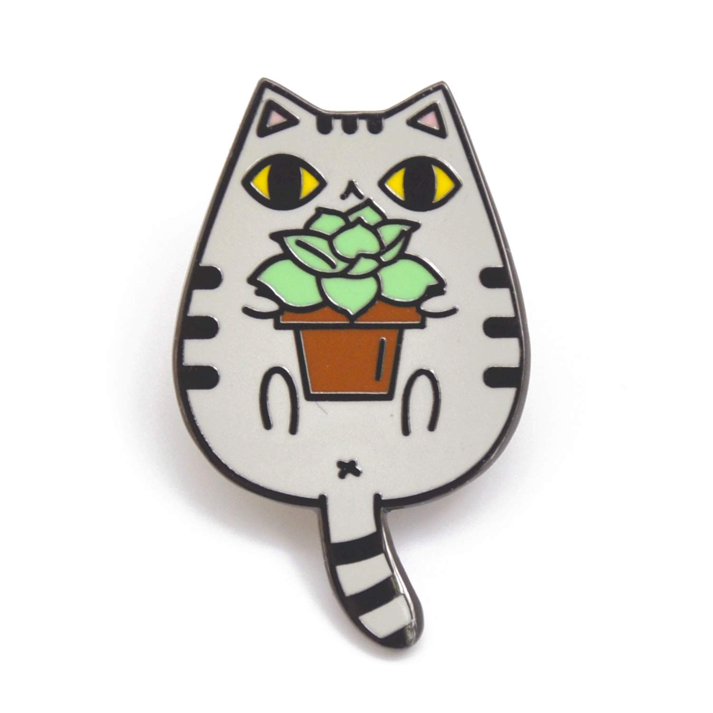Noristudio Succulent and Gray Tabby Cat Enamel Pin for Cat Lovers