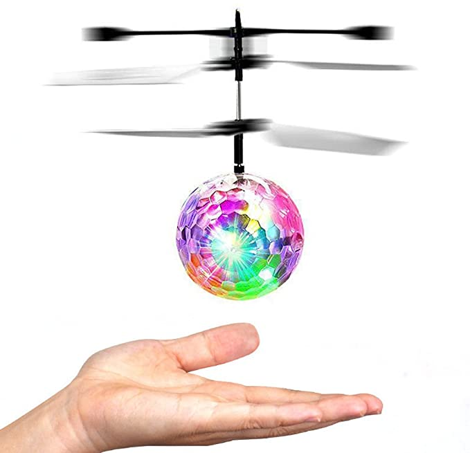 RC Flying Ball, Mini Flying Ball RC Flying Toy Infrared Induction Helicopter Drone Balls Toys with Built-in Rainbow Shinning LED Disco Lights Indoor and Outdoor Games for Boys and Girls