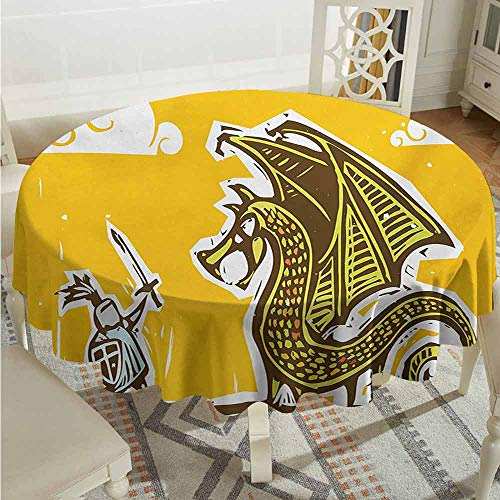 XXANS Indoor/Outdoor Round Tablecloth,Dragon,Knight with Shield in Steel Armour Against Dragon with Wings Cartoon Middle Ages Design,High-end Durable Creative Home,67 INCH,Yellow