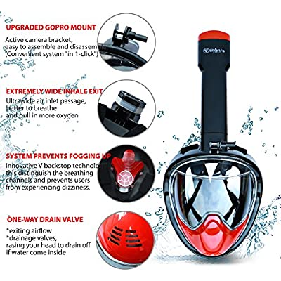 Full Face Mask For Snorkel- Easy Breath- 180⁰ Panoramic Seaview- Innovative V Backstop Technology With Four Valves- Scuba Mask PC- Anti-Leak&Anti-Fog- GoPro Mount (Black/Red, L/XL) from Shark's Tooth