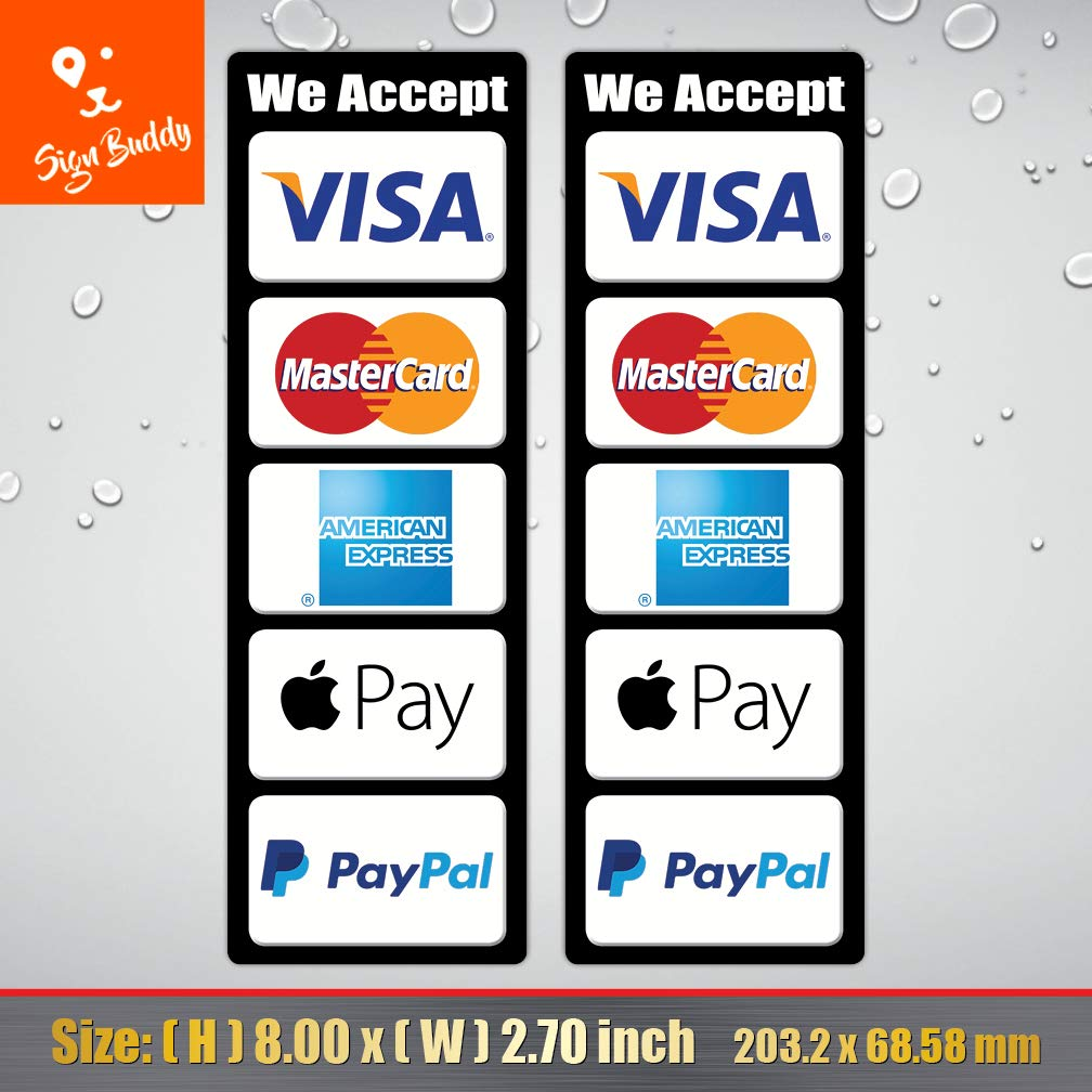 What Stores Accept Paypal Credit >> Amazon Com Pack Of 2 Pcs We Accept Visa Master Ae Paypal