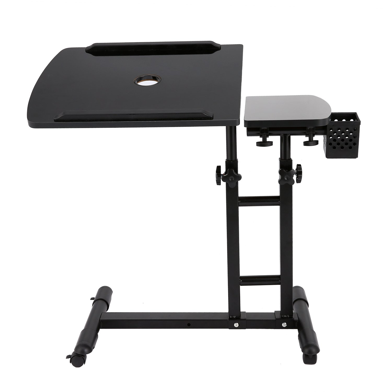 Pagacat Adjustable Height Rolling Laptop Computer Desk Stand Table for Writing Reading (Black)
