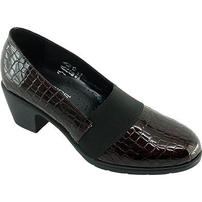 de51ff787864af DUNIL Mocassin Trotteur A Talon Très Souple Chaussures Confort Femme Pieds  Sensibles Marque Aéro Cuir Vernis