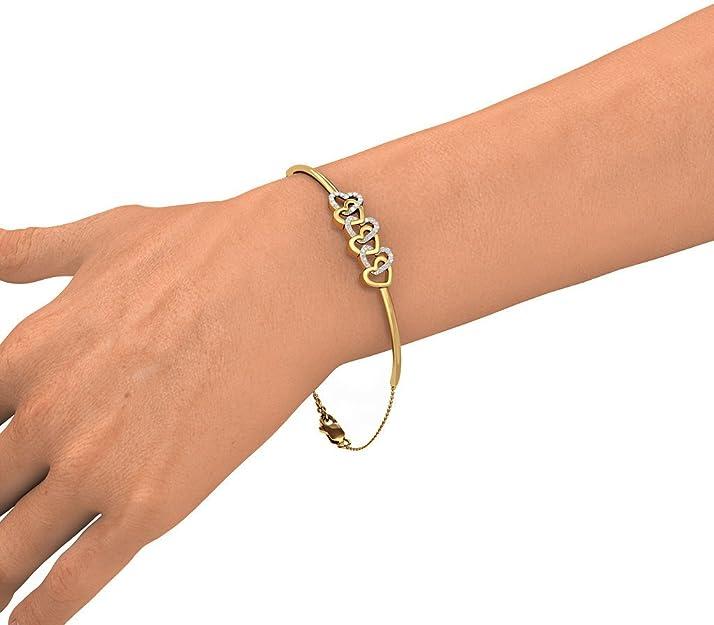 0.099 cttw Round-Cut-Diamond IJ  SI identification-bracelets Size 18K Yellow Gold 8.75 inches