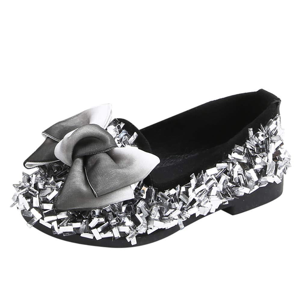Tantisy ♣↭♣ Little Princess Crystal Shoes Kids Girls Bowknot Fashion Loafers Mary Jane Shining Princess Shoes