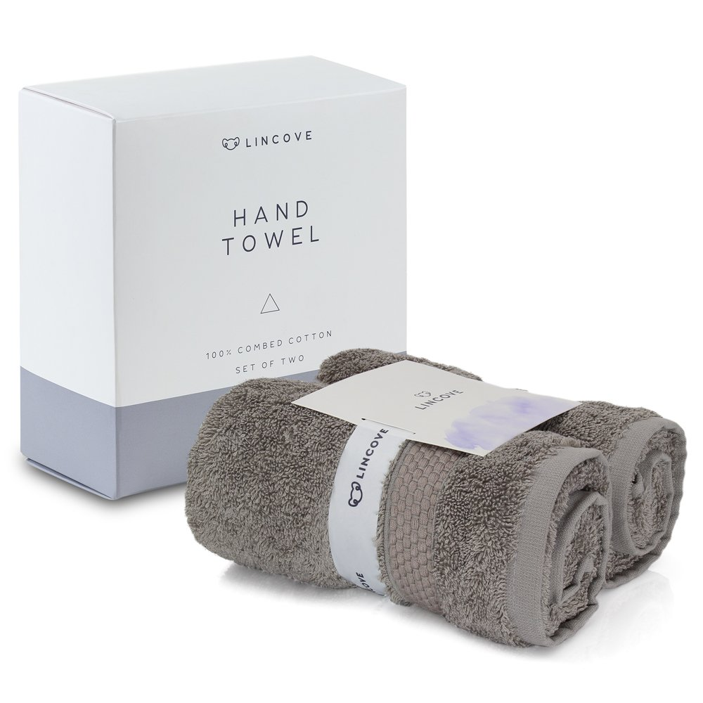 Lincove 100% Turkish Cotton Luxury Hand Towels - Hotel & Spa Luxury Hand Towels 600 GSM, Highly Absorbent & Eco Friendly - Made in Turkey (Light Grey)