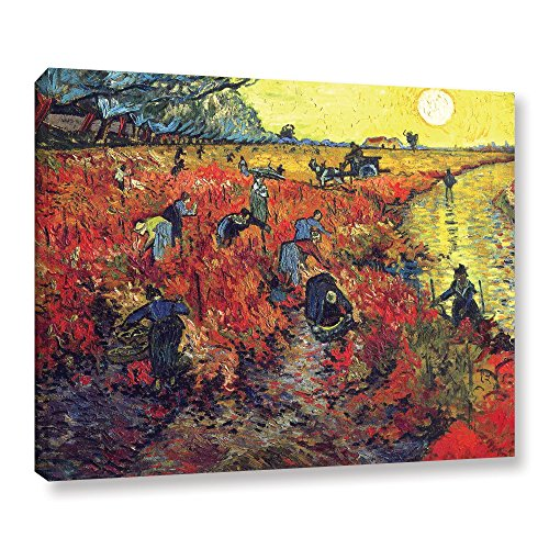 Arles Vincent Van - Art Wall Red Vineyard at Arles by Vincent van Gogh Gallery Wrapped Canvas, 14 by 18-Inch