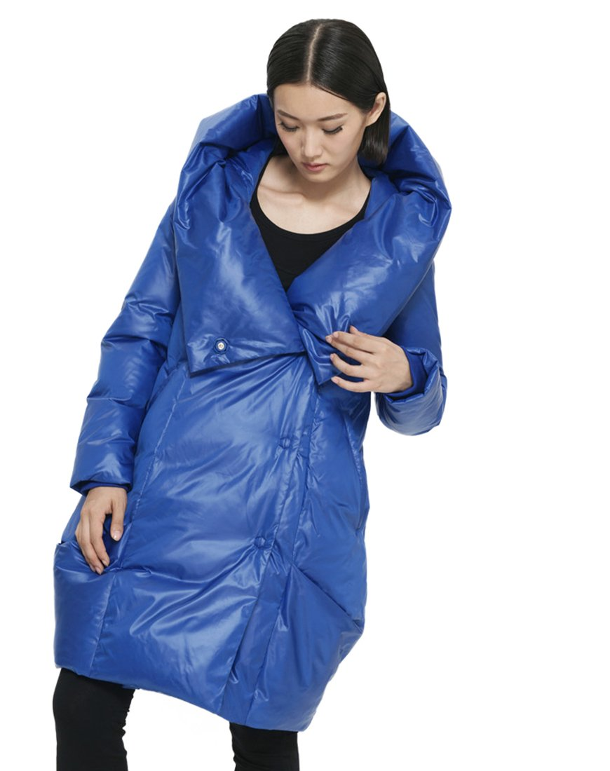 Katuo Straight Hooded Down Jacket Light Weight Down Coat Women's Winter Coat (L, Blue)