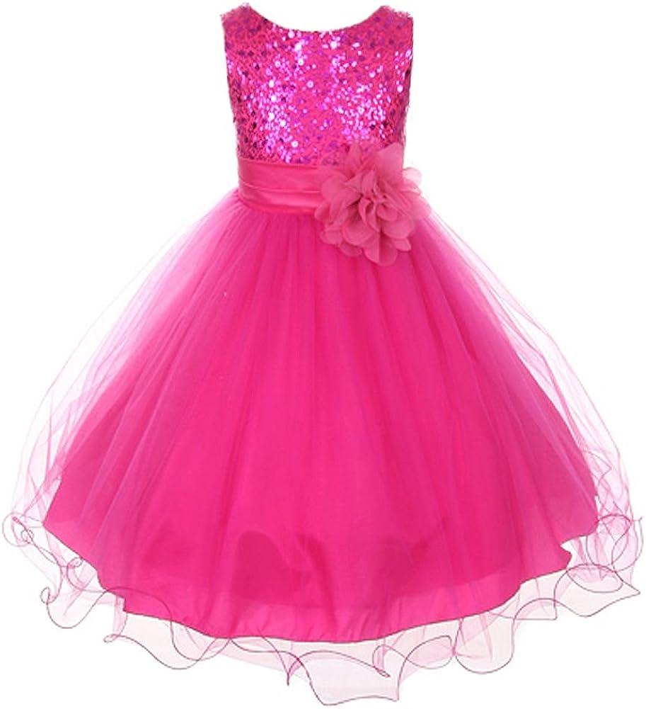 flower girl pink fuchsia dress