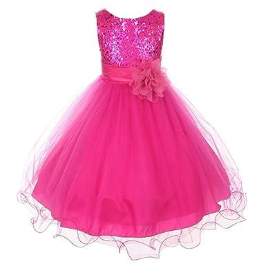 47f187ce7 Amazon.com: Kids Dream Girls 7/8 Fuchsia Sequin Double Mesh Flower ...