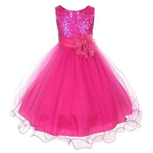 b52e0ecb26c Kid s Dream Big Girls Fuchsia Sequin Bodice Floral Overlaid Flower Girl  Dress 8